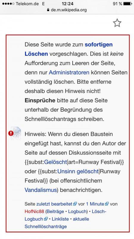 """Wikipediaeintrag """"Runway Festival"""": Löschvorschlag"""