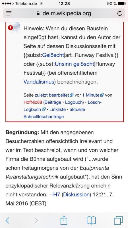"""Wikipediaeintrag """"Runway Festival"""": Begründung des Löschvorschlages"""