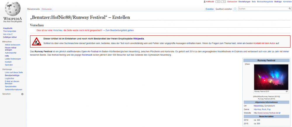 Wikipediaeintrag Infobox