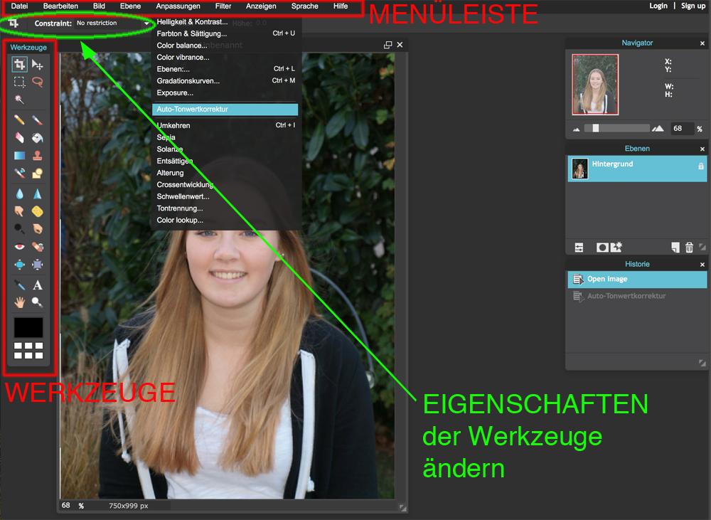 Pixlr ist im Aufbau an Photoshop angelehnt, wer bereits damit gearbeitet hat wird sich schnell zurechtfinden. Über die Menüleiste sind z.B. Anpassungen möglich, Änderungen der Bildgröße oder Arbeitsfläche etc.